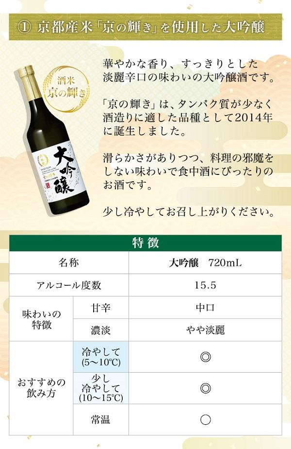 酒米3種飲み比べセット 京の輝き 大吟醸