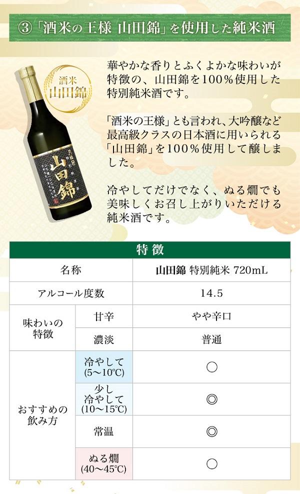 酒米3種飲み比べセット 山田錦 特別純米